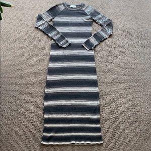 ALC striped wool knit maxi dress - grays/brown -S